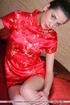 Green eyed girl adores silk kimono but feels too hot