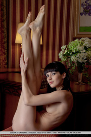 kinky young brunette stretches