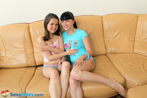 Two hot black haired lesbians licking an - XXX Dessert - Picture 1