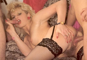 Hairy lady pleasing two eighties dicks a - XXX Dessert - Picture 14