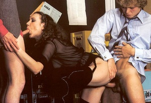 Hairy eighties lady loves two dicks insi - XXX Dessert - Picture 9