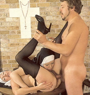 Two slutty retro nuns sharing the garden - XXX Dessert - Picture 16