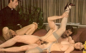 Horny seventies priest boning two wet an - Picture 11
