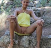 Horny beauty strips lemon dress to reveal hot shape, sexy tits and sweet