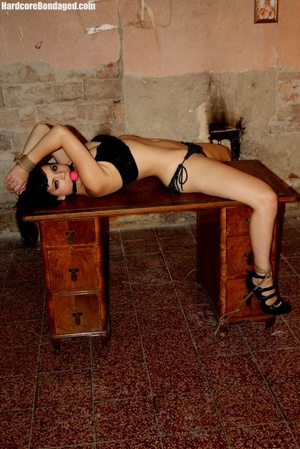 Innocent gag wearing short black haired  - XXX Dessert - Picture 1