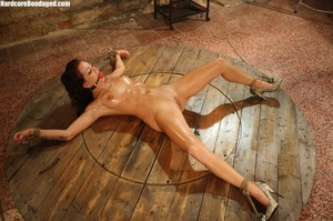Sweaty gag wearing bondaged redhead with - XXX Dessert - Picture 2