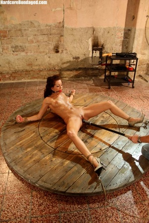 Sweaty gag wearing bondaged redhead with - XXX Dessert - Picture 10