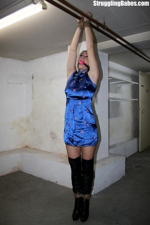 Tall blonde is left tied up and hanging  - XXX Dessert - Picture 3