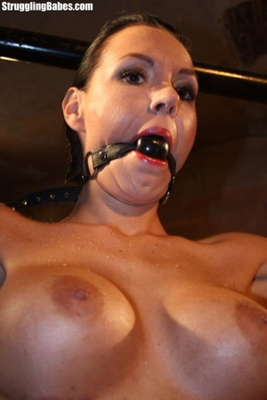 Stunning brunette is roped to a rack and - XXX Dessert - Picture 5