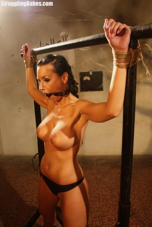 Stunning brunette is roped to a rack and - XXX Dessert - Picture 8