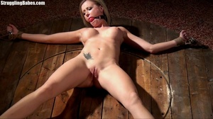 Hot curvy slut is tied to wheel and abus - XXX Dessert - Picture 2