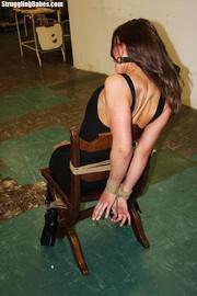 cute girlfriend roped chair
