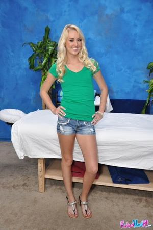 Tiny blonde wearing black pants loves hi - XXX Dessert - Picture 1