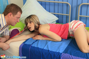 Petite teen Gina rubbing her shaved puss - XXX Dessert - Picture 2