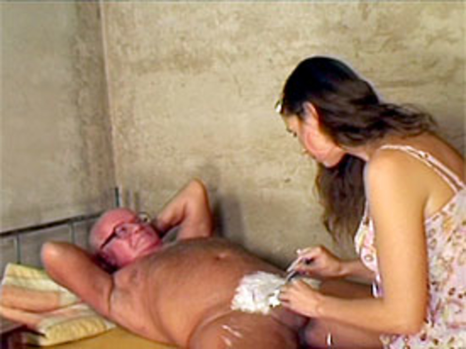 Cute female barber shaving a grandpa his big hairy nuttsack