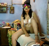 Curvy Indian bitch in a mask and white bra getting screwed with a thick