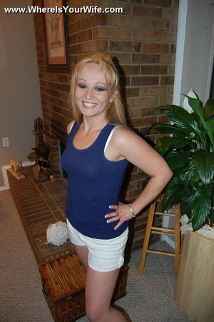 Small tittied blonde milf taking off her - XXX Dessert - Picture 1