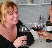 A glass of wine gets things lubed up and then her BBW pussy is taken by