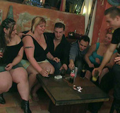 The drunken fat chicks suck and fuck with fit and horny young men in a
