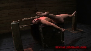 Gag-balled brunette chick roped and stre - XXX Dessert - Picture 12