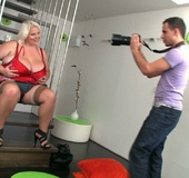 The photographer is seduced by the blonde BBW and their sex is steaming