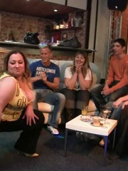 The fatty at the BBW orgy party in the bar is bent over - Picture 5