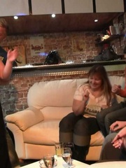 The fatty at the BBW orgy party in the bar is bent over - Picture 7