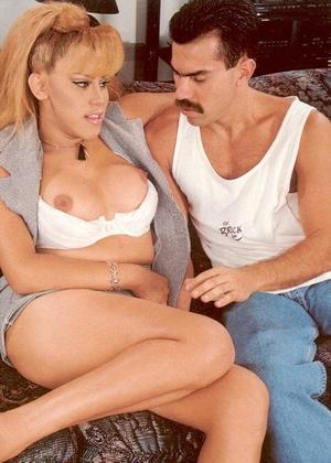Blonde vintage babe licking her huge tit - XXX Dessert - Picture 1