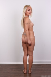 blonde with tattoo above