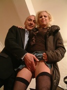 blonde, old young, stockings, young old