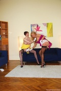 blonde, old young, stockings, toys
