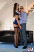 brunette, old young, shaved, stockings