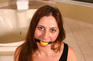 Hot gag wearing bondaged brunette with l - XXX Dessert - Picture 2