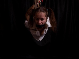Lusty gag wearing brunette milf hanging  - XXX Dessert - Picture 2