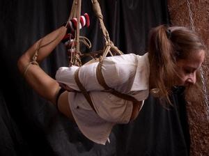 Lusty gag wearing brunette milf hanging  - XXX Dessert - Picture 3