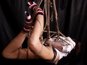 Lusty gag wearing brunette milf hanging  - XXX Dessert - Picture 5