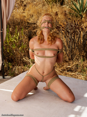 Hot blonde girl bound and folded with ro - Picture 5
