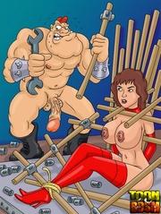 kinky dudes torturing brunette