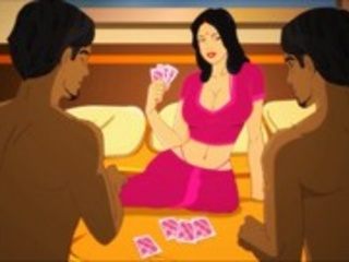 Gorgeous Indian whore playing cards with two dude for - Picture 3