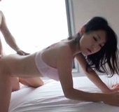 Young sexy Asian babe has her hairy pussy fucked hard from front and behind