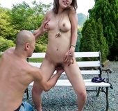 Shaved head older man fingers chick outdoors and fucks her pussy hard