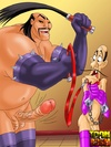 Mulan in bondage as Shang and Shan Yu lord over her and Chi Fu in chains
