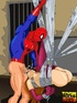 Spiderman fucks Mary Jane tied up in web and makes her suck his hard cock