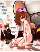 Dirty rocking of hairy driver with a group of sexy toon vixens
