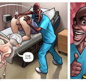 Slutty nurse and a black doctor giving an enema to their patient