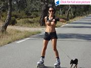 ponytailed brunette roller skater