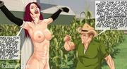 naked redhead bound cross