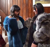 Swarthy babe quarrelling with her friend for a very expensive fur coat
