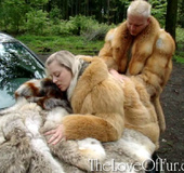 Horny dude in a fox fur coat drilling hard a blondie in a fur coat as