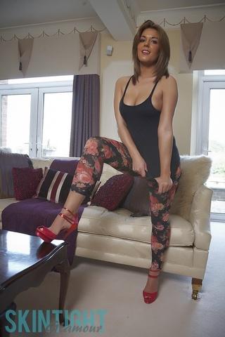 busty redhead floral leggings